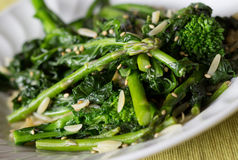 Rapinis and asparagus salad. Cooked rapinis and asparagus salad royalty free stock photography