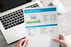 Raportowa kredytowego wynika bankowość pożycza podaniową ryzyko formę fotografia stock
