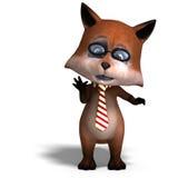 A raposa bonito dos desenhos animados é muito esperta e inteligente Foto de Stock Royalty Free