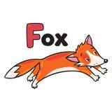Raposa de salto engraçada pequena, para ABC Alfabeto F Imagens de Stock Royalty Free