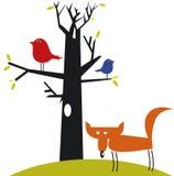 Raposa e pássaros engraçados Imagens de Stock