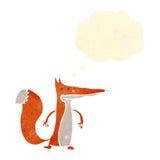 raposa inteligente dos desenhos animados com bolha do pensamento ilustração royalty free