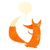 raposa inteligente dos desenhos animados retros com bolha do discurso ilustração stock
