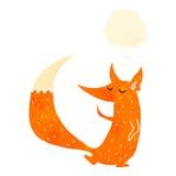 raposa inteligente retro dos desenhos animados com bolha do pensamento ilustração do vetor