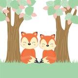 Raposas bonitos dos pares na floresta ilustração do vetor