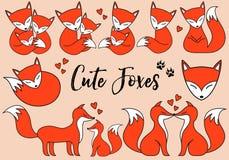 Raposas bonitos, grupo do vetor ilustração royalty free
