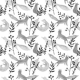 Raposas cinzentas bonitos no teste padrão sem emenda da aquarela da floresta do inverno no fundo branco Jogo simples das raposas  ilustração royalty free
