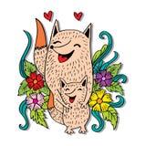 Raposas da mãe e da criança ilustração royalty free