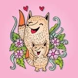 Raposas da mãe e da criança ilustração stock