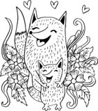 Raposas da mãe e da criança ilustração do vetor