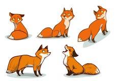Raposas engraçadas dos desenhos animados Imagem de Stock Royalty Free