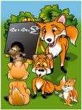 Raposas na escola ilustração do vetor