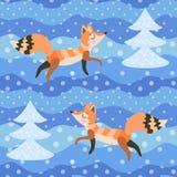 Raposas na floresta do inverno entre abeto cobertos de neve teste padrão sem emenda no vetor Impressão para a tela, papel de pare ilustração stock