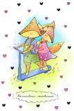 Raposas no 'trotinette' ilustração do vetor