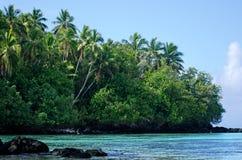 Rapota海岛风景在Aitutaki盐水湖库克群岛 免版税图库摄影