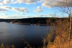 Rappbode Dam Rappbodetalsperre. Panomramic view of Rappbode Dam in autumn Stock Photography