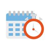 Rappel de calendrier avec l'icône d'isolement par chronomètre Photographie stock libre de droits