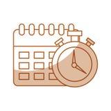 Rappel de calendrier avec l'icône d'isolement par chronomètre Images stock
