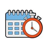 Rappel de calendrier avec l'icône d'isolement par chronomètre Photo libre de droits