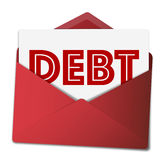 Rappel de dette dans l'enveloppe rouge Images libres de droits