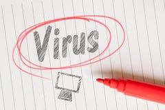 Rappel de note de virus sur le papier linéaire Photographie stock libre de droits