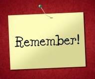 Rappelez-vous les expositions de signe pour maintenir dans l'esprit et l'ordre du jour Image stock