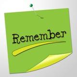 Rappelez-vous les moyens de message pour maintenir dans l'esprit et l'ordre du jour Images stock