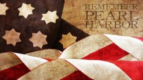 Rappelez-vous Pearl Harbor Vagues de drapeau Image libre de droits