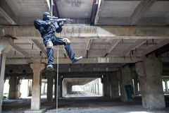 Rappeling assault Stock Images