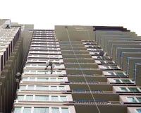 Rappelling Gebäude. Stockbild