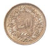 Rappen för 20 schweizare mynt Arkivfoto
