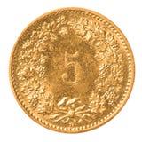 Rappen för 5 schweizare mynt royaltyfria bilder