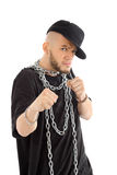Rapper with big chain at neck ready for fight Stock Image