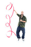 Rapper in camouflage jacket with ribbon stands on tiptoes Stock Photos