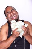 Rapper with cash. Portrait of a happy rapper holding cash Stock Image
