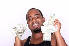 Rapper with cash. Portrait of a happy rapper holding cash Stock Photos