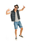 Rapper dancing and gesticulate Royalty Free Stock Photo