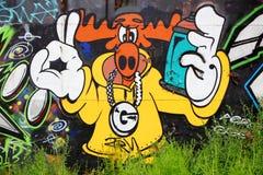 Rapper dos alces dos grafittis Fotos de Stock Royalty Free
