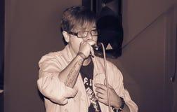 Rapper. Female raper having a gig Stock Image