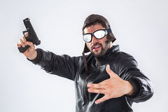 Rapper with gun Stock Image