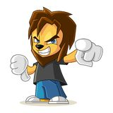 Rapper Lion Mascot Cartoon Vector Illustration Angry Royalty Free Stock Photography