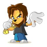 Rapper Lion Mascot Cartoon Vector Illustration Cool Pose Royalty Free Stock Photography