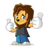 Rapper Lion Mascot Cartoon Vector Illustration Thumbs Up Royalty Free Stock Photography