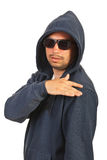 Rapper man with hood and sunglasses Stock Photos