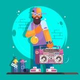 Rapper musicus in een honkbal GLB De modieuze kerel van de hiphopmens Vectorkarakterillustratie Stock Afbeeldingen