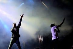 Rapper O MAIS CEDO POSSÍVEL rochoso de Harlem e membro do hip-hop da coletividade da multidão O MAIS CEDO POSSÍVEL no concerto no fotos de stock