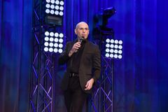 Rapper Pitbull speaking on stage. Pitbull  Armando Christian Pérez . Music producer Stock Image