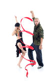 Rapper with ribbon and gymnast girl in dance Stock Photography