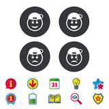 Rapper smile face icons. Happy, sad, cry. Rapper smile face icons. Happy, sad, cry signs. Happy smiley chat symbol. Sadness depression and crying signs Stock Images