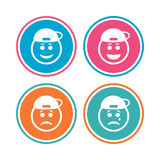 Rapper smile face icons. Happy, sad, cry. Royalty Free Stock Photo